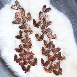 Vintage Copper Butterfly Boho Wall Decor Set